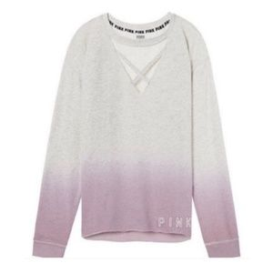 🌼PINK || Choker Cut Out Ombré Pullover